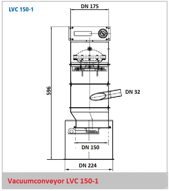Bouwtekening vacuumconveyor LVC 150-1