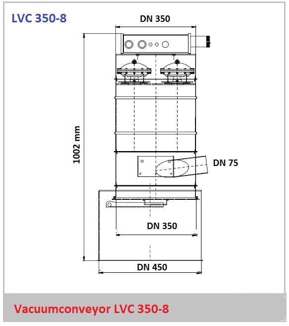 Bouwtekening vacuumconveyor LVC 350-8